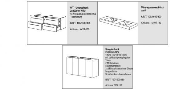 BadmÖbel Set Design BadezimmermÖbel Komplett Badset Doppelwaschtisch 160 Cm Neu - Vorschau 2