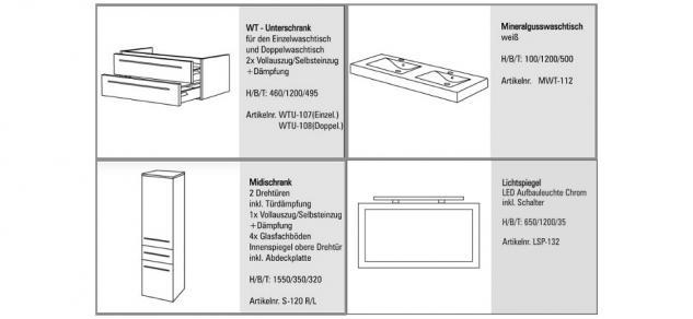 BadmÖbel Set Badset Design Komplett BadezimmermÖbel Doppelwaschtisch 120 Cm Neu - Vorschau 2