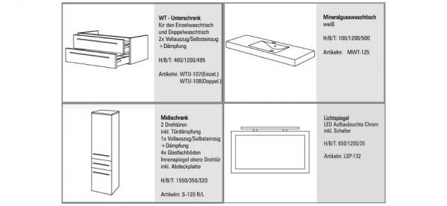 BADMÖBEL SET DESIGN BADSET BADEZIMMERMÖBEL MIT WASCHTISCH + LICHTSPIEGEL 120 CM - Vorschau 2