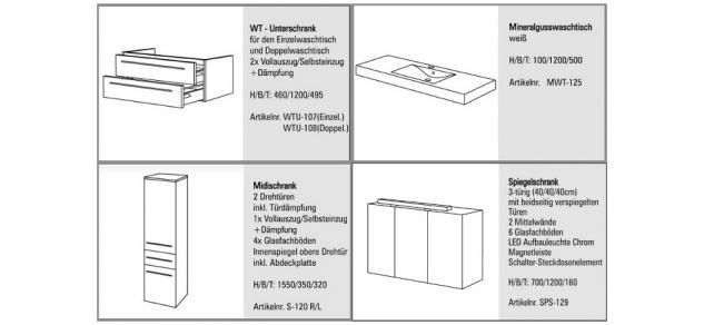BadmÖbel Set Komplett Badezimmer Badset BadezimmermÖbel Spiegelschrank 120 Cm - Vorschau 2