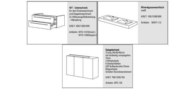 BadmÖbel Set Design BadezimmermÖbel Spiegelschrank + Doppelwaschtisch 120 Cm - Vorschau 2