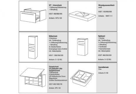 BadmÖbel Set Design BadezimmermÖbel Badset Mit Spiegelschrank + Waschbecken Neu - Vorschau 2