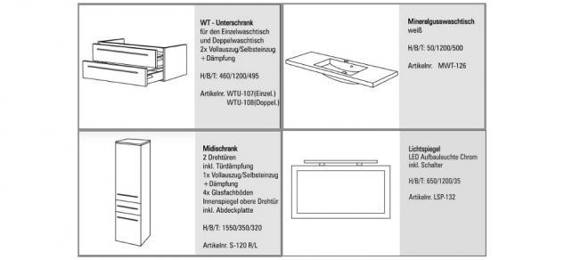 BadmÖbel Set Komplett Badset BadezimmermÖbel Waschbecken Waschtisch 120 Cm Neu - Vorschau 2