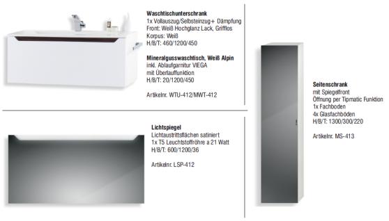 Badset Monza BadezimmermÖbel Design Mit 120 Cm Waschtisch Grau Griffleiste Neu - Vorschau 2