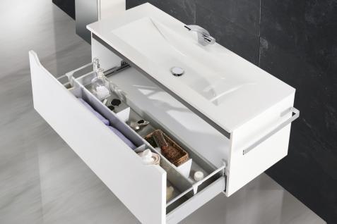 Badset Monza BadezimmermÖbel Design + 120 Cm Waschtisch Graue Griffleiste Neu - Vorschau 4