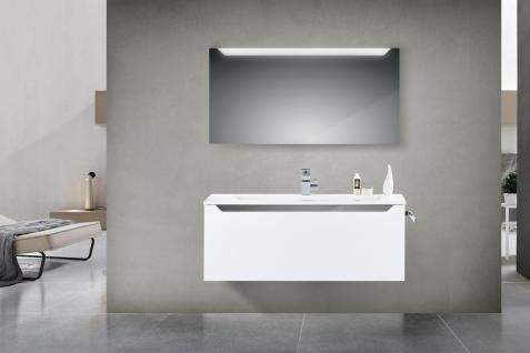 Badset Monza BadezimmermÖbel Design + 120 Cm Waschtisch Graue Griffleiste Neu - Vorschau 1