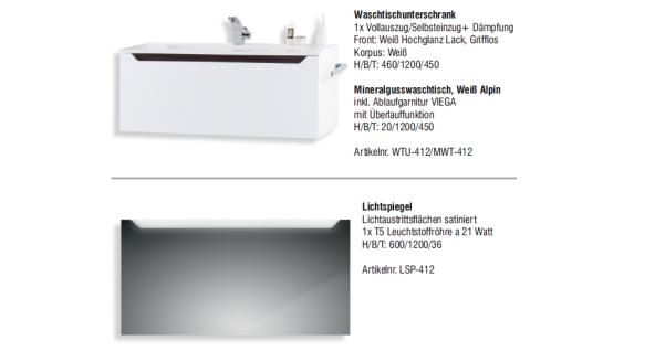 Badset Monza BadezimmermÖbel Design + 120 Cm Waschtisch Graue Griffleiste Neu - Vorschau 2