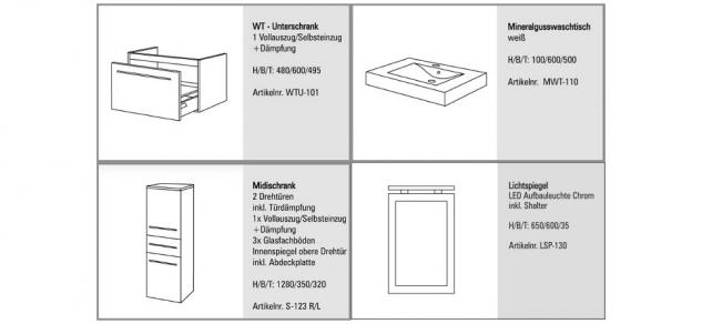 BadmÖbel Set Komplett Badset Design BadezimmermÖbel Mit 60 Cm Waschtisch Neu - Vorschau 2