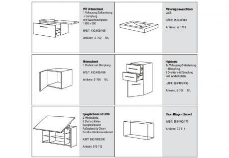 BadmÖbel Set Cremona Design Badezimmer Badset Spiegelschrank Waschtisch 80 Cm - Vorschau 2