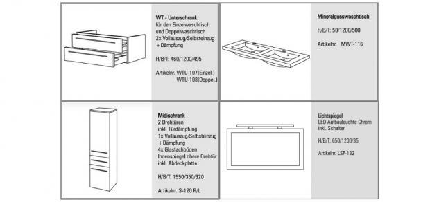 Design BadmÖbel Set Mit Spiegel BadezimmermÖbel Waschbecken Doppelwaschtisch 120 - Vorschau 2
