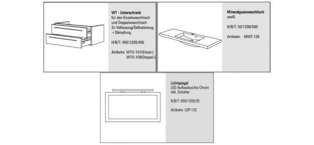 BadmÖbel Set Komplett Badset BadezimmermÖbel Waschbecken Waschtisch 120 Neu - Vorschau 2