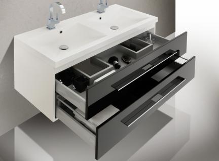 BadmÖbel Set BadezimmermÖbel Design Badset Mit Doppelwaschtisch & Spiegelschrank - Vorschau 4
