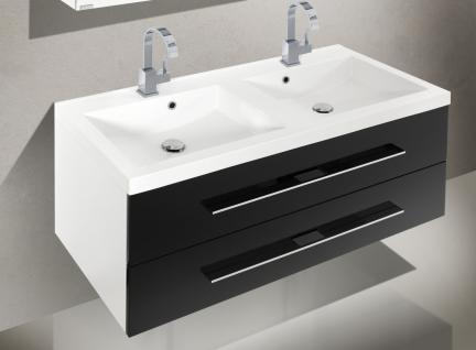 BadmÖbel Set BadezimmermÖbel Design Badset Mit Doppelwaschtisch & Spiegelschrank - Vorschau 3