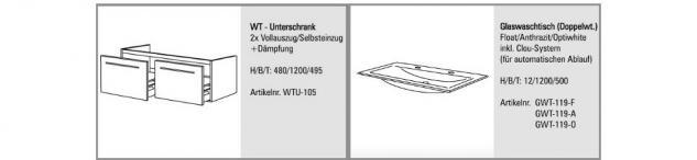 BadmÖbel Set BadezimmermÖbel Design Badset Glas - Doppelwaschtisch 120 Cm Neu - Vorschau 2