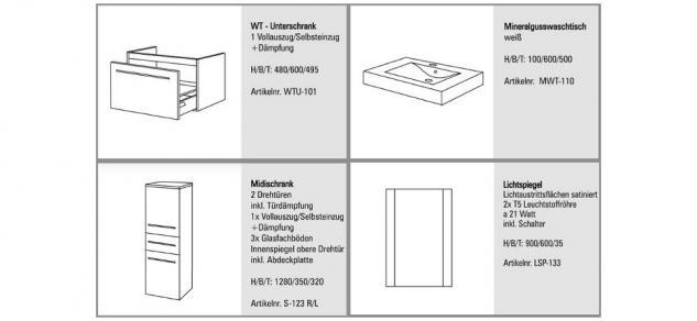 BADMÖBEL SET KOMPLETT BADEZIMMERMÖBEL DESIGN BADSET inkl. WASCHBECKEN 60 CM NEU - Vorschau 2