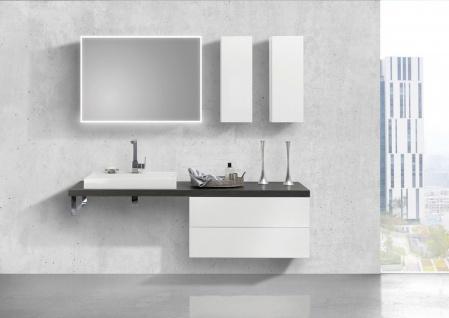 Badmöbel Set LUXOR grifflos, Waschtischplatte nach Maß, weiß hochglanz