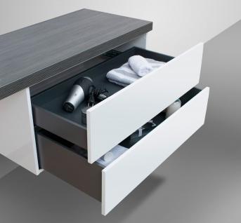 Badmöbel LUXOR grifflos 180 cm , Waschtischplatte nach Maß, weiß hochglanz - Vorschau 3