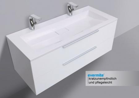 Badmöbel Set Intarbad CUBO 120 cm Doppelwaschbecken, Unterschrank und Led Spiegel - Vorschau 3