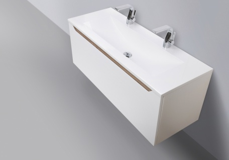 Doppelwaschtisch 120cm grifflos mit Led Spiegel und Hochschrank - Vorschau 2