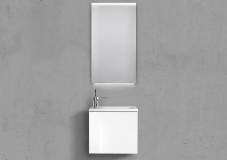 Gäste Badmöbel Set Grifflos, Waschtisch 50x25cm, Design Spiegel LED