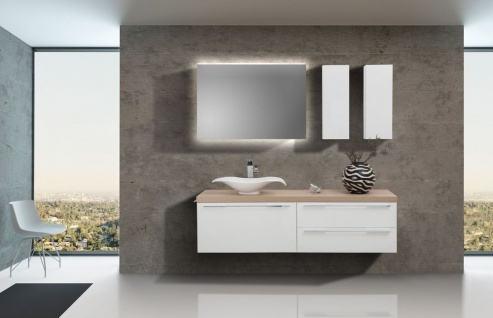 Design Badezimmer Set inkl. edlem Aufsatzwaschtisch und Oberschränken in Weiß Hochglanz