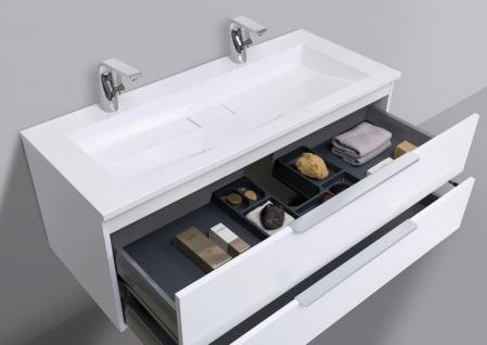 Badmöbel Set Intarbad CUBO 120 cm Doppelwaschbecken, Unterschrank und Led Spiegel - Vorschau 5