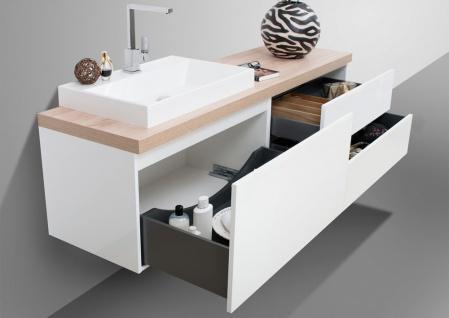 Badmöbel LUXOR grifflos 180 cm , Waschtischplatte nach Maß, weiß hochglanz - Vorschau 4