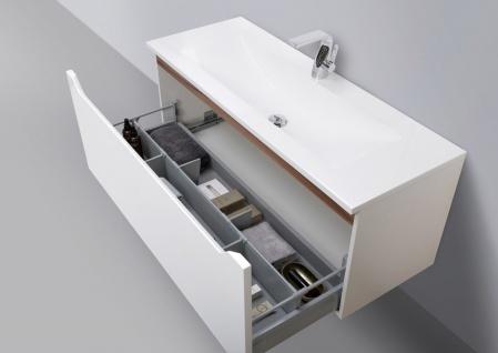 Wachtisch Set Monza 120 cm, weiß hochglanz mit Led Lichtspiegel - Vorschau 3