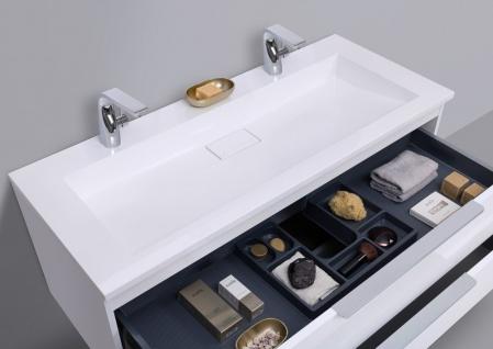 Badmöbel Set Intarbad CUBO 120 cm Doppelwaschbecken, Unterschrank und Led Spiegel - Vorschau 4