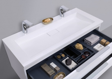 Intarbad CUBO Design Badmöbel Set 120 cm Doppelwaschtisch - Vorschau 4