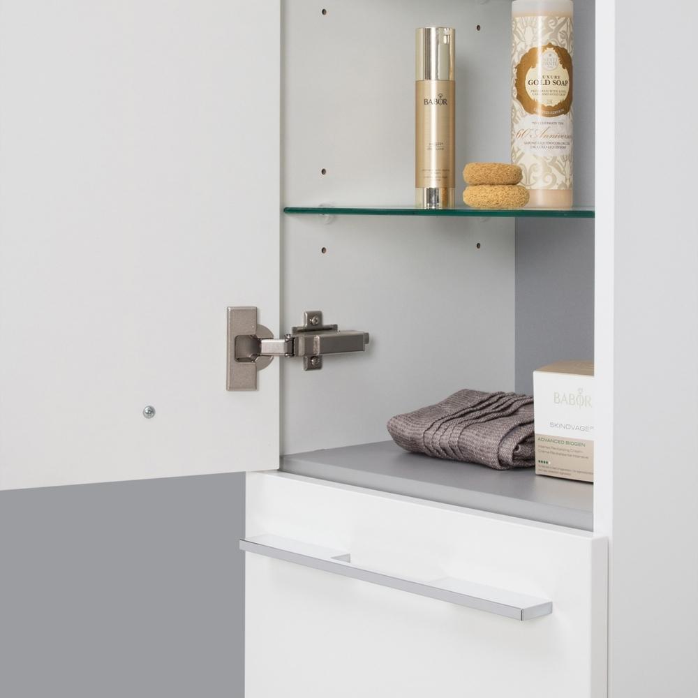 Badschrank Mit Wäschekippe Hochschrank Hbt 1604032 5cm Weiß