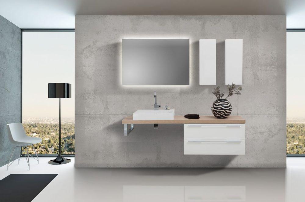 Design Badezimmer Set Weiß Hochglanz Mit Led Lichtspiegel