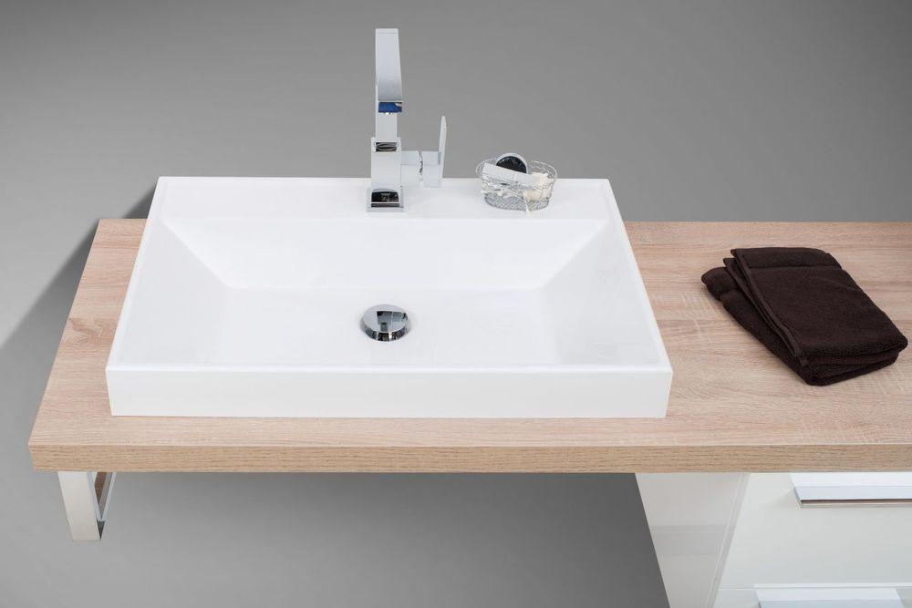 Badmöbel Set mit Lichtspiegel, Design Waschbecken und ...