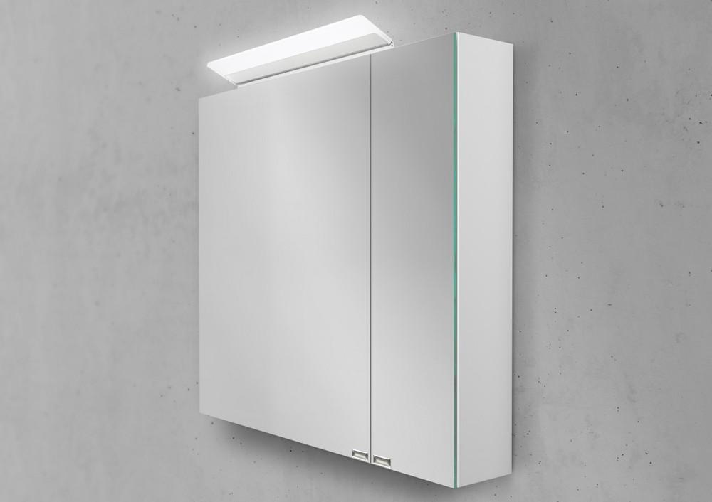 Spiegelschrank Bad 80 cm LED Beleuchtung doppelt verspiegelt ...