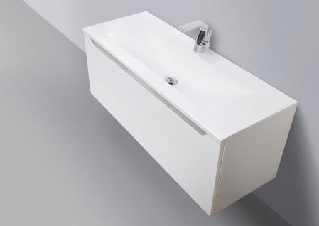 Badmöbel Set grifflos 120 cm Waschbecken, Unterschrank mit Led Lichtspiegel - Vorschau 2