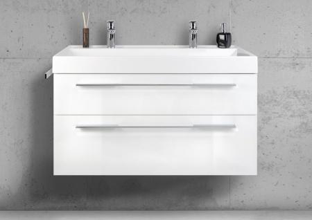 Badmöbel Set 100 cm Doppelwaschbecken mit Unterschrank, Waschtisch Set, Intarbad BELLA