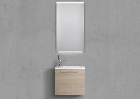 Badmöbel Set Rimini, Gäste WC Waschbecken, mit LED Spiegel