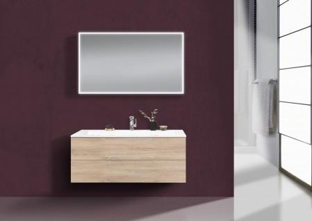 Badmöbel Set grifflos CUBO 1200 mm Waschtisch Evermite, Unterschrank und Led Spiegel