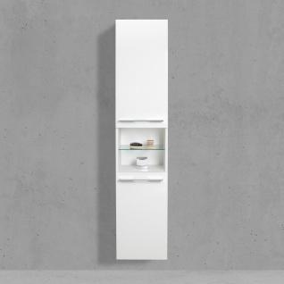 Badschrank mit Wäschekippe Hochschrank H/B/T: 175/40/32, 5cm Weiß Hochglanz Lack