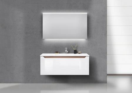 Wachtisch Set Monza 120 cm, weiß hochglanz mit Led Lichtspiegel - Vorschau 1
