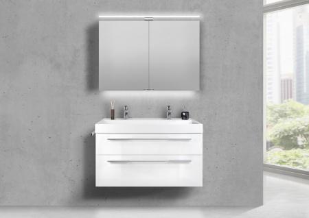 Doppelwaschtisch 100 cm Badmöbel Set BELLA, mit Led Spiegelschrank