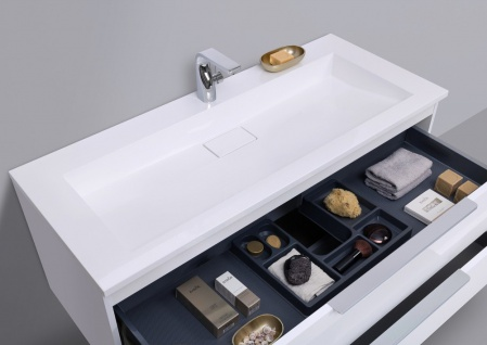 Badmöbel Set 120 cm Waschtisch Evermite, mit Unterschrank und Led Lichspiegel - Vorschau 4