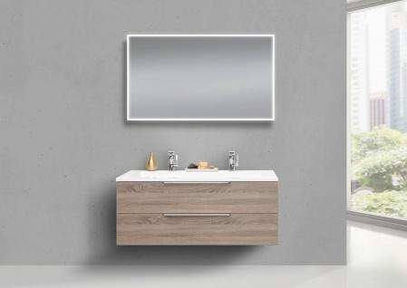 Badmöbel Set Intarbad CUBO 120 cm Doppelwaschbecken, Unterschrank und Led Spiegel