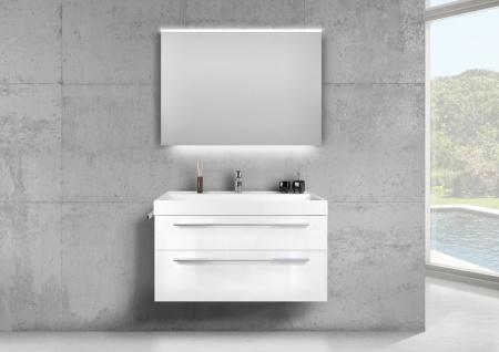 Design Badmöbel 100 cm Waschtisch mit Unterschrank und LED Lichtspiegel