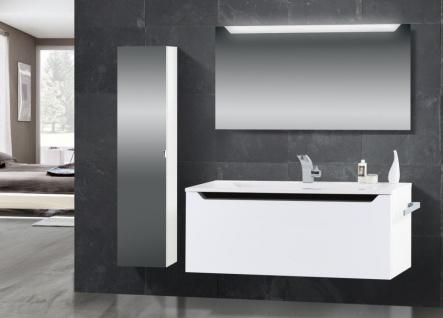Design Badmöbel Set Waschtisch 120 cm Schwarz Hochglanz Griffleiste
