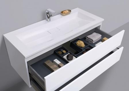 Badmöbel Set grifflos CUBO 1200 mm Waschtisch Evermite, Unterschrank und Led Spiegel - Vorschau 5