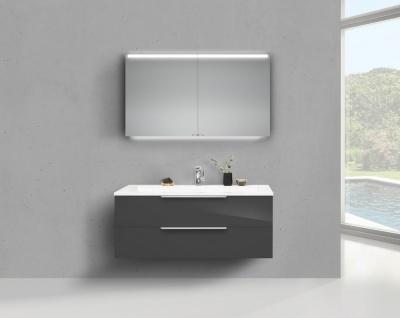 Badmöbel CUBO 120 cm Waschbecken Evermite, mit Unterschrank und Led Spiegelschrank