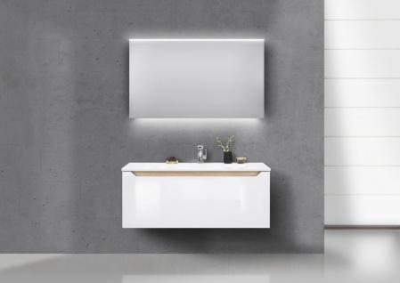 Badmöbel Set grifflos 120 cm Waschtisch, Unterschrank und Led Spiegel