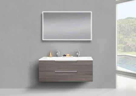 Badmöbel Set Intarbad CUBO 120 cm Doppewaschbecken, Unterschrank und Led Spiegel