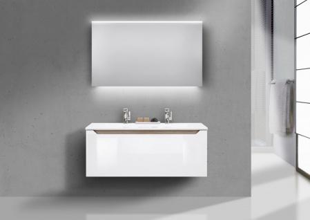 Badmobel Set Grifflos Doppelwaschbecken 120 Cm Waschtisch Set Monza